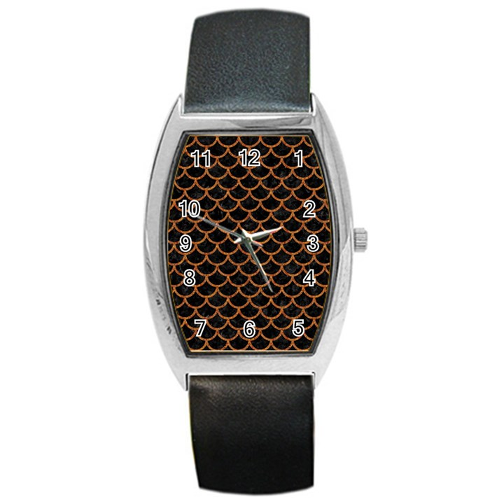 SCALES1 BLACK MARBLE & RUSTED METAL (R) Barrel Style Metal Watch