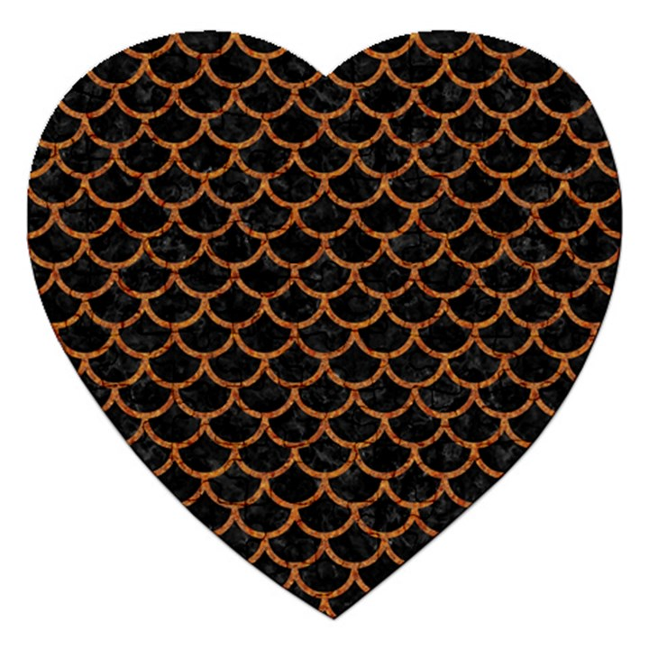 SCALES1 BLACK MARBLE & RUSTED METAL (R) Jigsaw Puzzle (Heart)