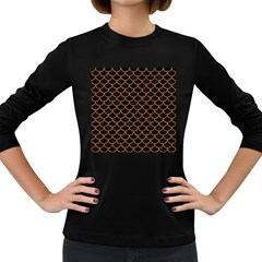Scales1 Black Marble & Rusted Metal (r) Women s Long Sleeve Dark T Shirts