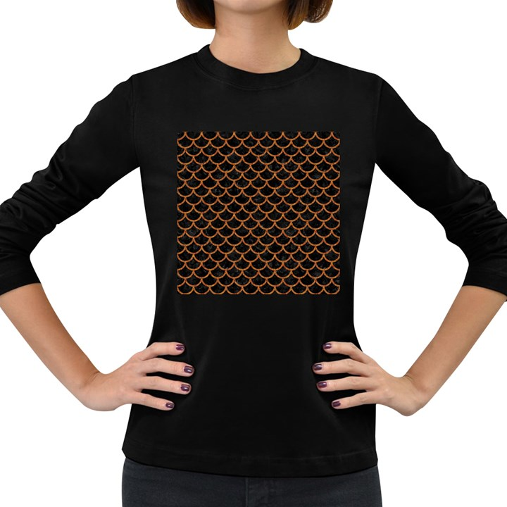 SCALES1 BLACK MARBLE & RUSTED METAL (R) Women s Long Sleeve Dark T-Shirts