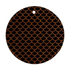 Scales1 Black Marble & Rusted Metal (r) Round Ornament (two Sides) by trendistuff