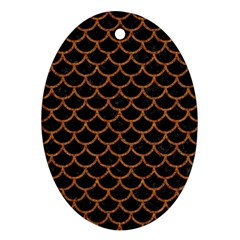 Scales1 Black Marble & Rusted Metal (r) Oval Ornament (two Sides) by trendistuff