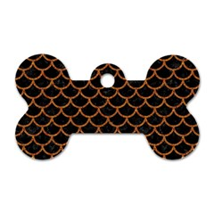 Scales1 Black Marble & Rusted Metal (r) Dog Tag Bone (one Side) by trendistuff