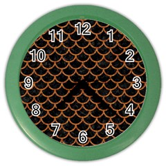 Scales1 Black Marble & Rusted Metal (r) Color Wall Clocks