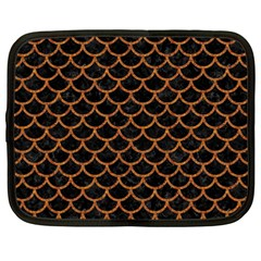 Scales1 Black Marble & Rusted Metal (r) Netbook Case (large)