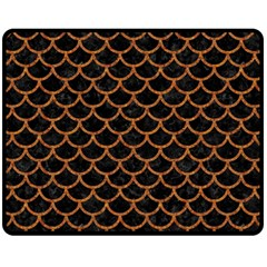 Scales1 Black Marble & Rusted Metal (r) Fleece Blanket (medium)  by trendistuff