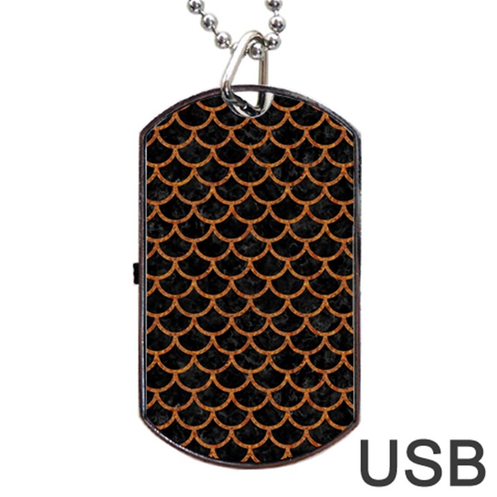 SCALES1 BLACK MARBLE & RUSTED METAL (R) Dog Tag USB Flash (One Side)
