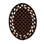 SCALES1 BLACK MARBLE & RUSTED METAL (R) Oval Filigree Ornament (Two Sides) Back