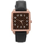 SCALES1 BLACK MARBLE & RUSTED METAL (R) Rose Gold Leather Watch  Front