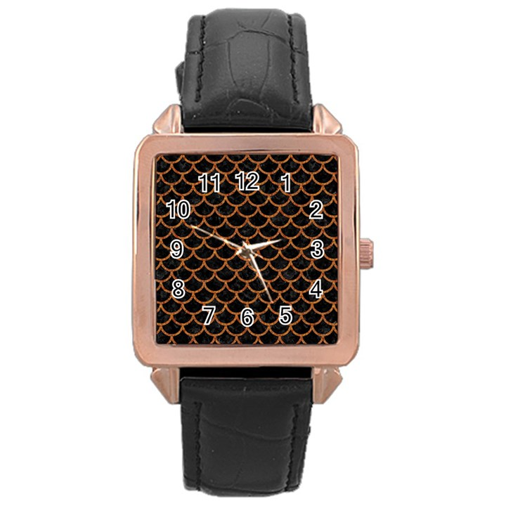 SCALES1 BLACK MARBLE & RUSTED METAL (R) Rose Gold Leather Watch