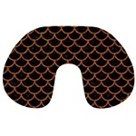 SCALES1 BLACK MARBLE & RUSTED METAL (R) Travel Neck Pillows Front