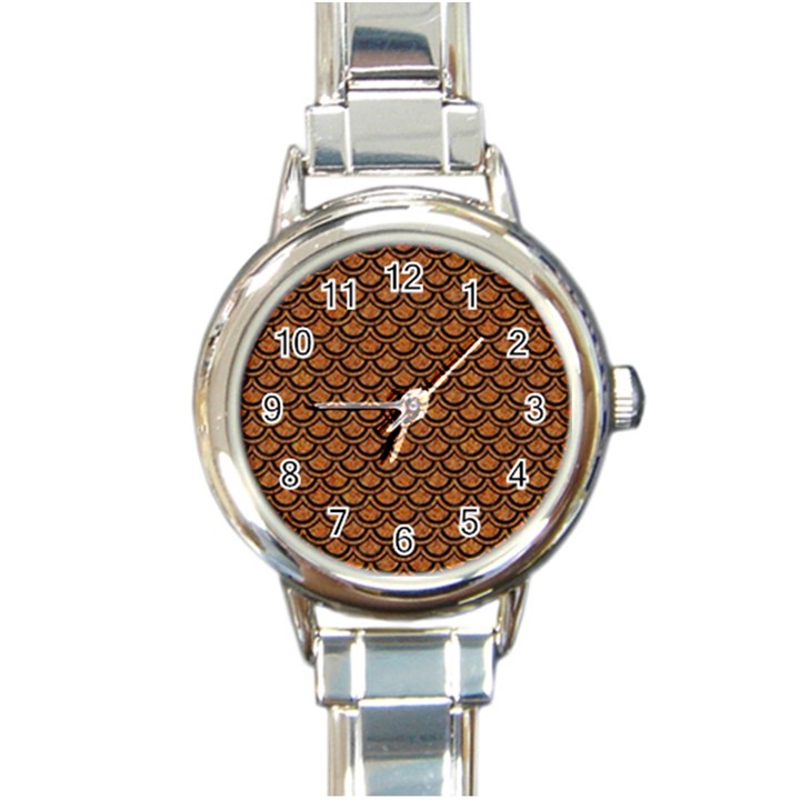 SCALES2 BLACK MARBLE & RUSTED METAL Round Italian Charm Watch