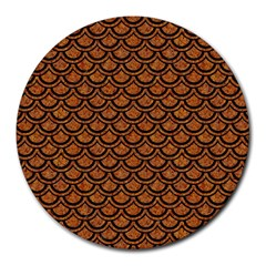 Scales2 Black Marble & Rusted Metal Round Mousepads by trendistuff