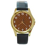 SCALES2 BLACK MARBLE & RUSTED METAL Round Gold Metal Watch Front