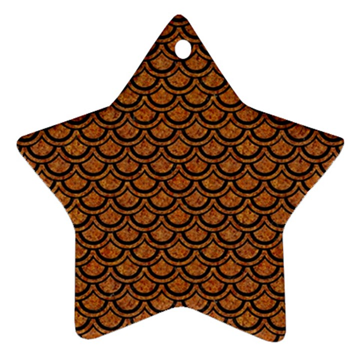 SCALES2 BLACK MARBLE & RUSTED METAL Star Ornament (Two Sides)