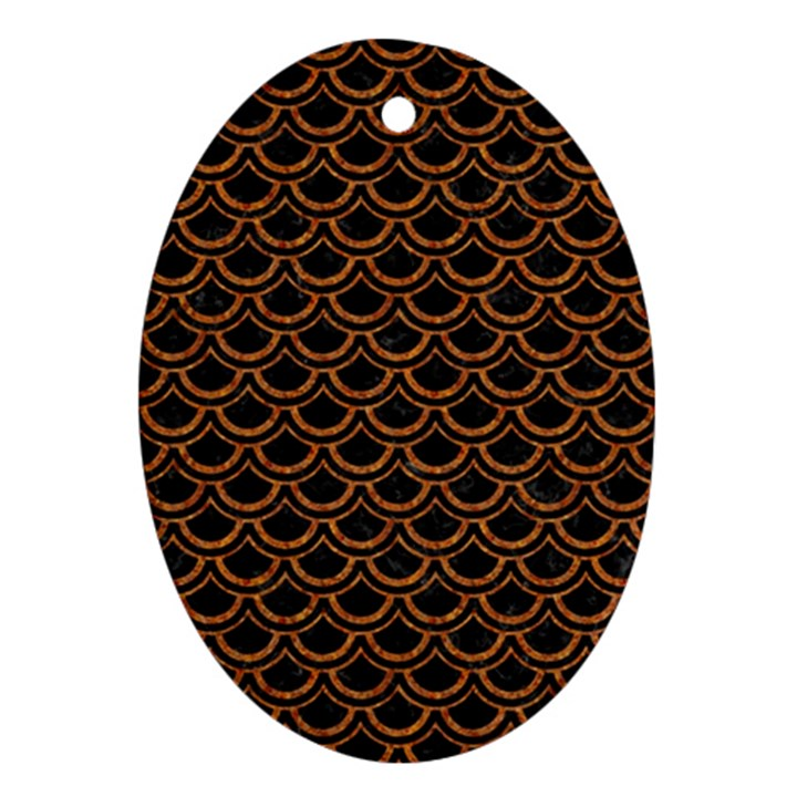 SCALES2 BLACK MARBLE & RUSTED METAL (R) Ornament (Oval)