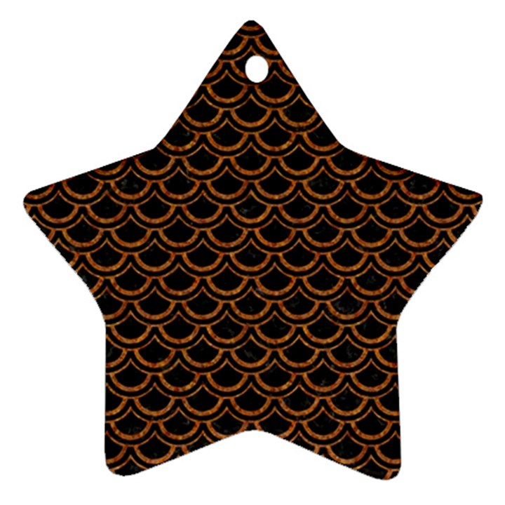 SCALES2 BLACK MARBLE & RUSTED METAL (R) Ornament (Star)