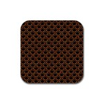 SCALES2 BLACK MARBLE & RUSTED METAL (R) Rubber Square Coaster (4 pack)  Front