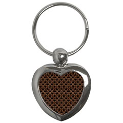 Scales2 Black Marble & Rusted Metal (r) Key Chains (heart)