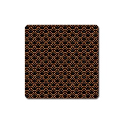 Scales2 Black Marble & Rusted Metal (r) Square Magnet by trendistuff