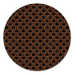 Scales2 Black Marble & Rusted Metal (r) Magnet 5  (round) by trendistuff