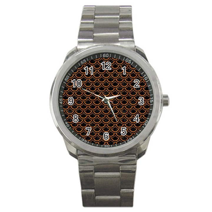 SCALES2 BLACK MARBLE & RUSTED METAL (R) Sport Metal Watch