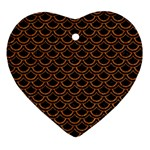 SCALES2 BLACK MARBLE & RUSTED METAL (R) Heart Ornament (Two Sides) Back
