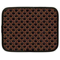 Scales2 Black Marble & Rusted Metal (r) Netbook Case (large)