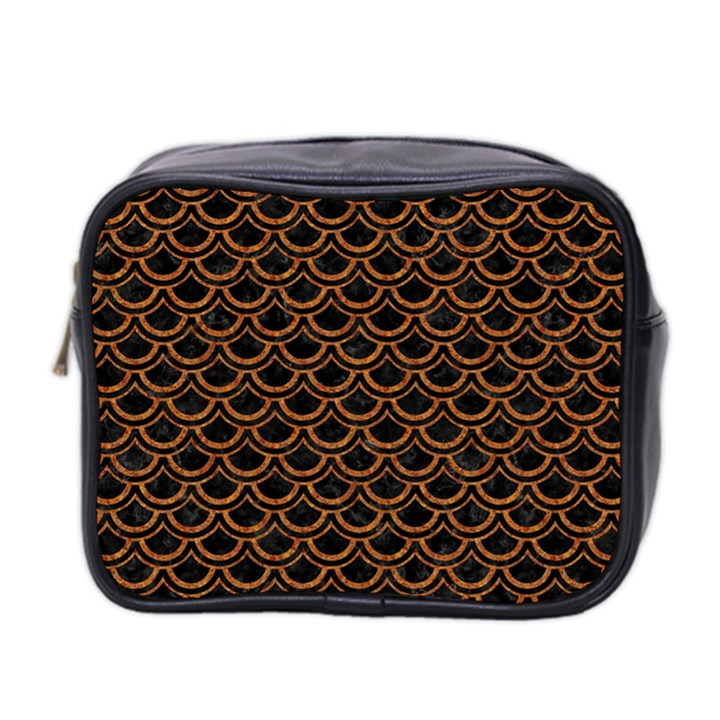 SCALES2 BLACK MARBLE & RUSTED METAL (R) Mini Toiletries Bag 2-Side