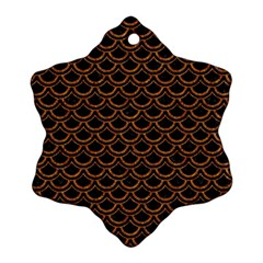 Scales2 Black Marble & Rusted Metal (r) Snowflake Ornament (two Sides) by trendistuff