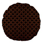 SCALES2 BLACK MARBLE & RUSTED METAL (R) Large 18  Premium Round Cushions Back