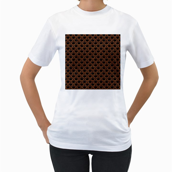 SCALES2 BLACK MARBLE & RUSTED METAL (R) Women s T-Shirt (White)