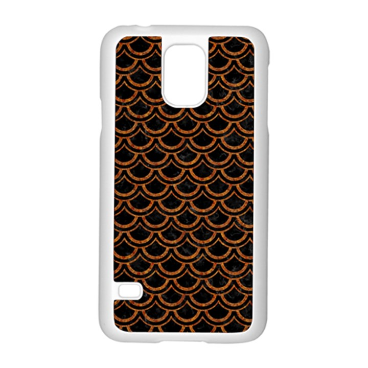 SCALES2 BLACK MARBLE & RUSTED METAL (R) Samsung Galaxy S5 Case (White)