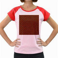 Scales3 Black Marble & Rusted Metal Women s Cap Sleeve T Shirt