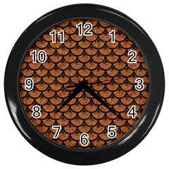 Scales3 Black Marble & Rusted Metal Wall Clocks (black)