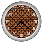SCALES3 BLACK MARBLE & RUSTED METAL Wall Clocks (Silver)