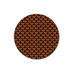 SCALES3 BLACK MARBLE & RUSTED METAL Rubber Coaster (Round)