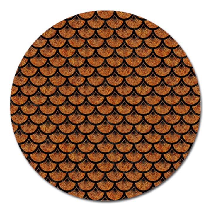 SCALES3 BLACK MARBLE & RUSTED METAL Magnet 5  (Round)