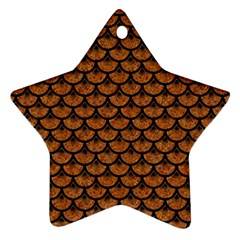 Scales3 Black Marble & Rusted Metal Star Ornament (two Sides) by trendistuff