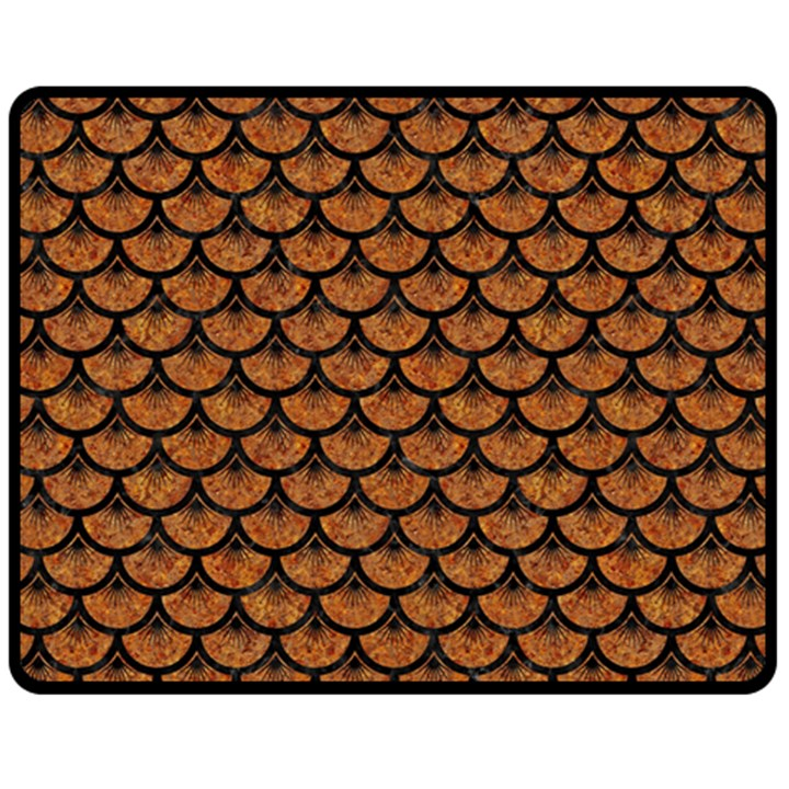 SCALES3 BLACK MARBLE & RUSTED METAL Fleece Blanket (Medium)