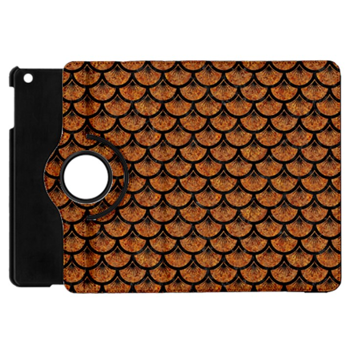 SCALES3 BLACK MARBLE & RUSTED METAL Apple iPad Mini Flip 360 Case