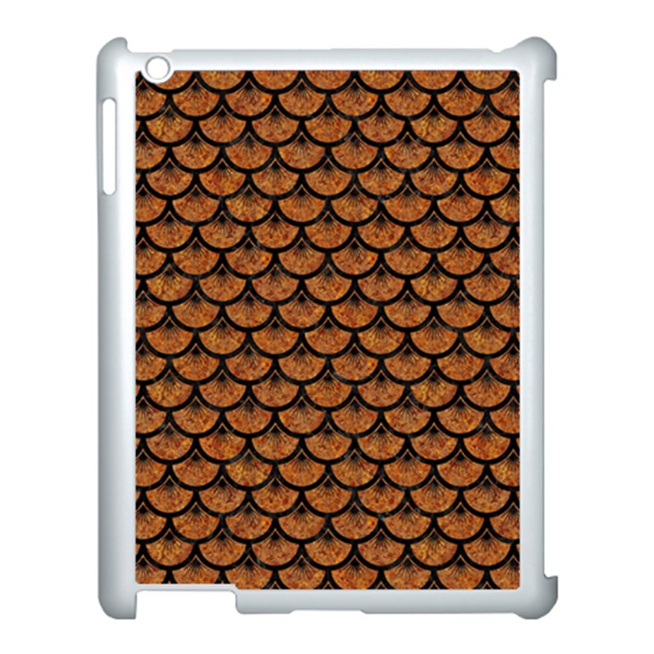 SCALES3 BLACK MARBLE & RUSTED METAL Apple iPad 3/4 Case (White)