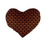 SCALES3 BLACK MARBLE & RUSTED METAL Standard 16  Premium Heart Shape Cushions Back