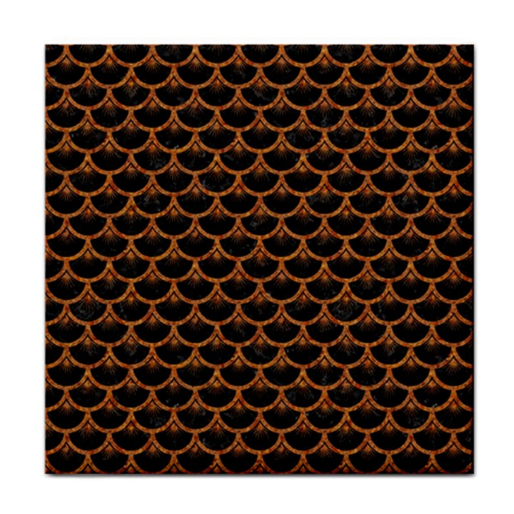 SCALES3 BLACK MARBLE & RUSTED METAL (R) Tile Coasters