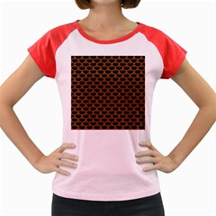 Scales3 Black Marble & Rusted Metal (r) Women s Cap Sleeve T Shirt