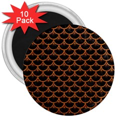 Scales3 Black Marble & Rusted Metal (r) 3  Magnets (10 Pack)  by trendistuff