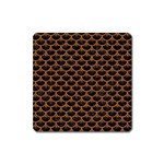 SCALES3 BLACK MARBLE & RUSTED METAL (R) Square Magnet Front