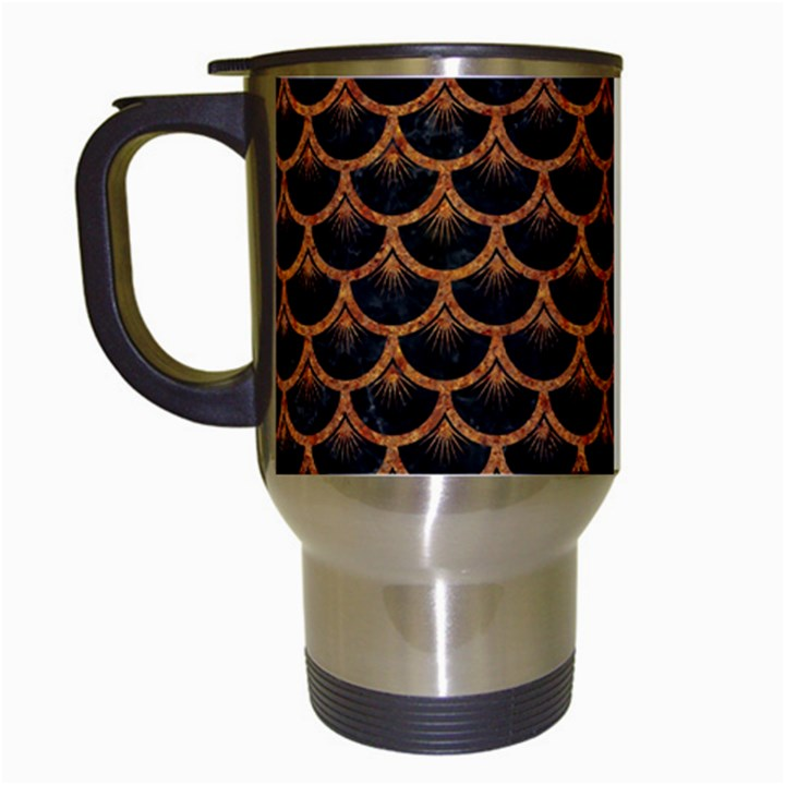 SCALES3 BLACK MARBLE & RUSTED METAL (R) Travel Mugs (White)