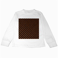 Scales3 Black Marble & Rusted Metal (r) Kids Long Sleeve T Shirts