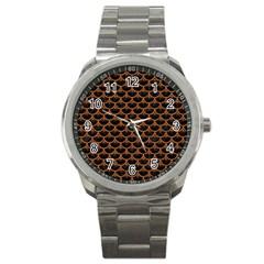 Scales3 Black Marble & Rusted Metal (r) Sport Metal Watch by trendistuff